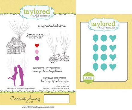 TEMD042 ~ CARRIED AWAY - SET OF Stamps with coordinating dies by Taylored Expressions